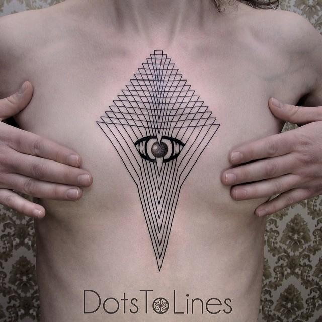 Tatouage artistique géometrique des lignes