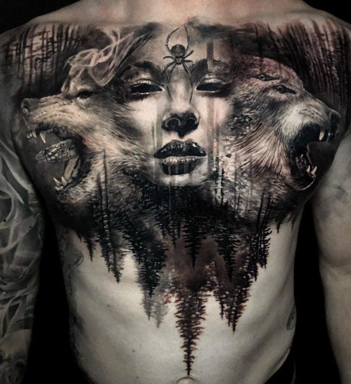 Tatouage de têtes de loups rugissant + Visage de femme