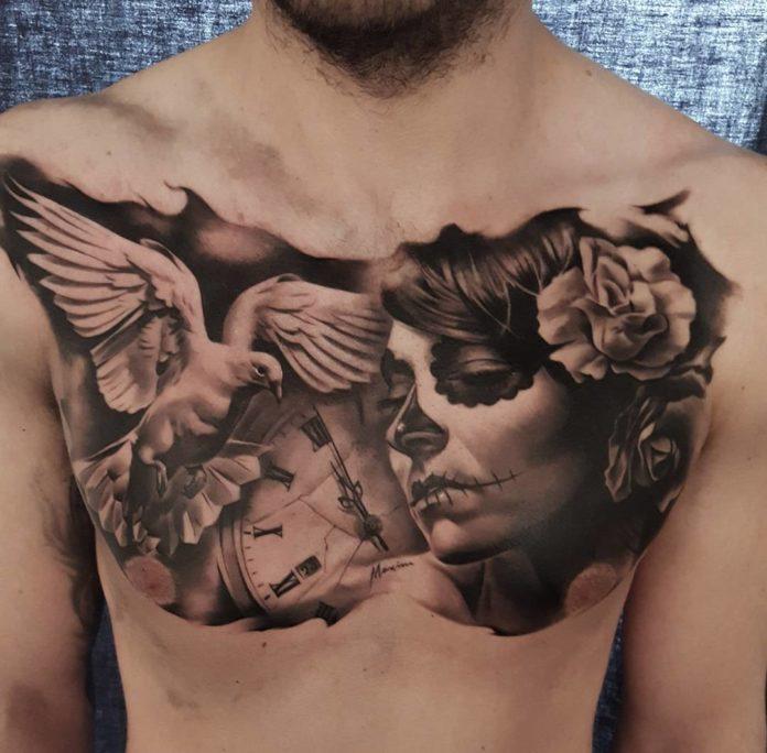 Tatouage d'une colombe + horloge + visage de femme