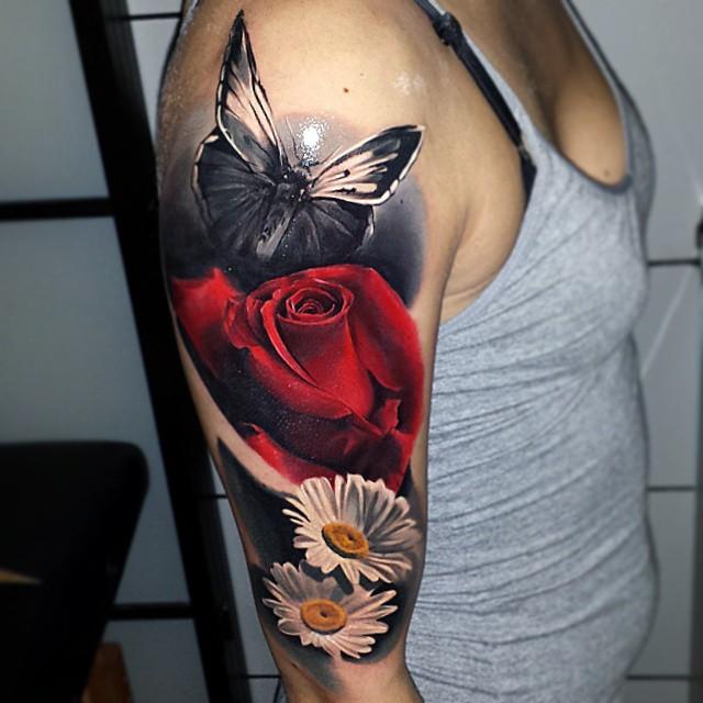12 74 - 100 Tatouages Rose pour Femme