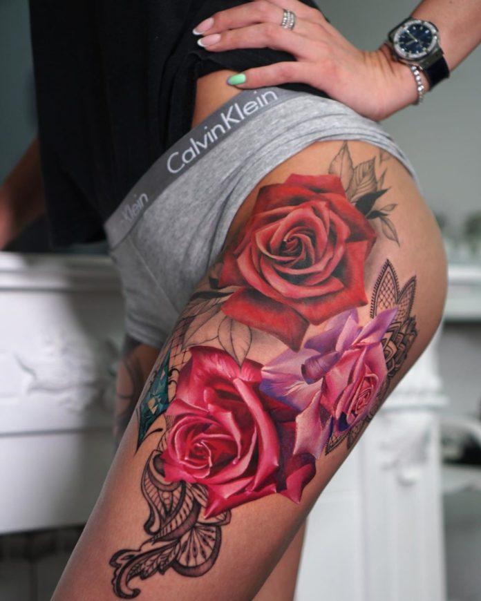 18 91 - 100 Tatouages Rose pour Femme