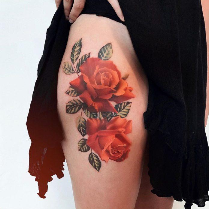 19 95 - 100 Tatouages Rose pour Femme