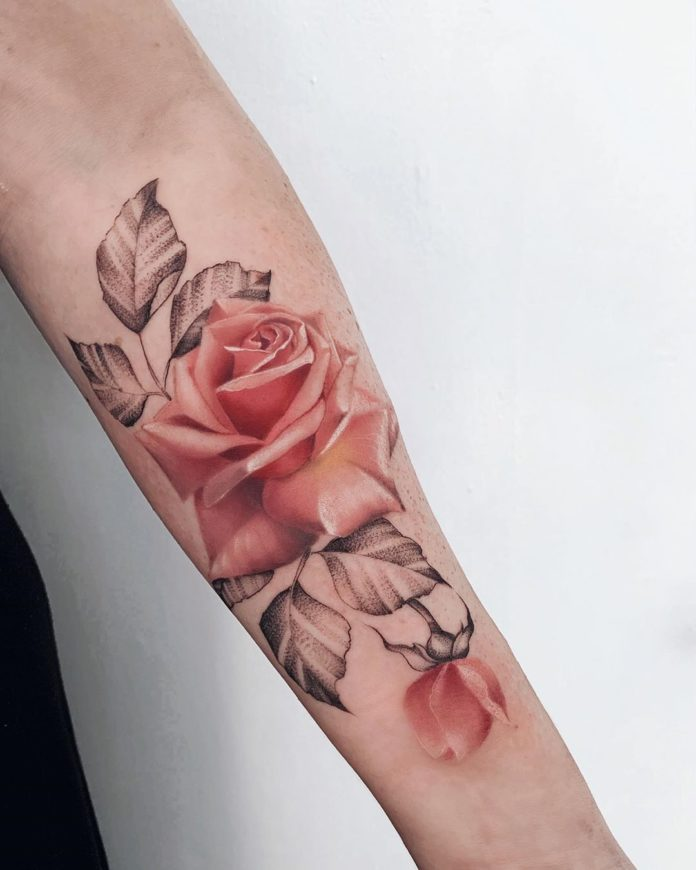 21 97 - 100 Tatouages Rose pour Femme