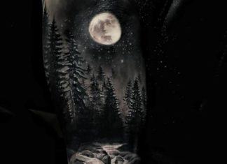 tatouage forêt pour homme