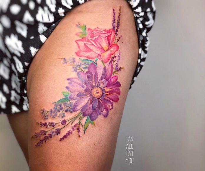 35 1 - 100 Tatouages Rose pour Femme
