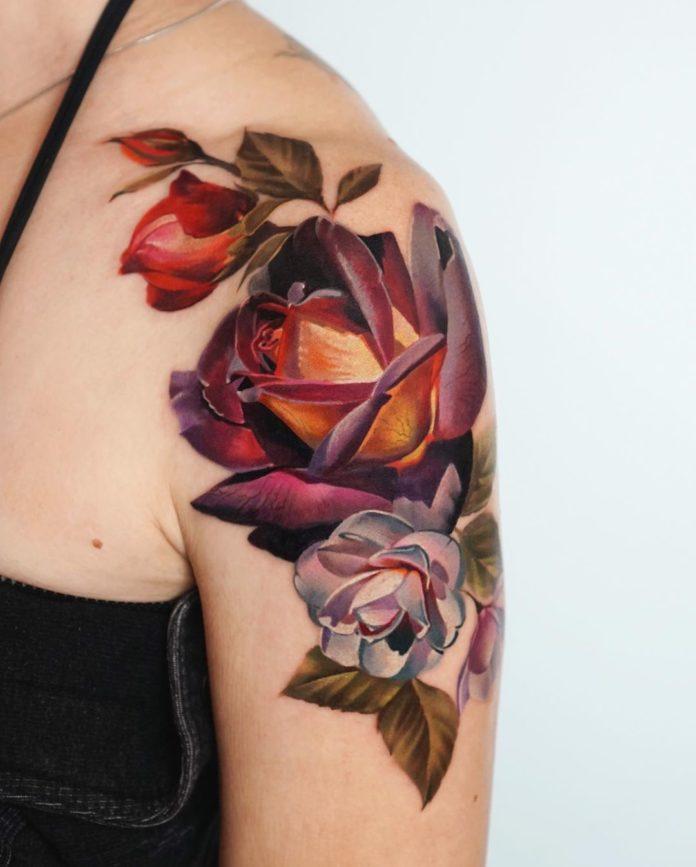 48 - 100 Tatouages Rose pour Femme