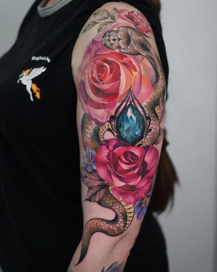 49 1 - 100 Tatouages Rose pour Femme