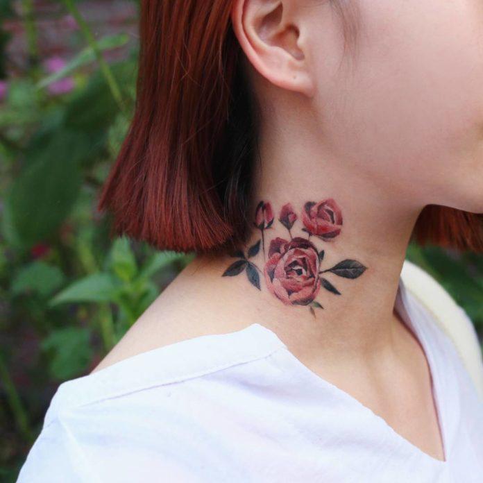 52 1 - 100 Tatouages Rose pour Femme