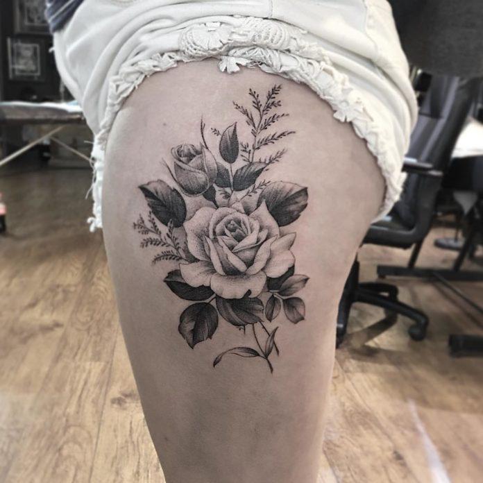 55 2 - 100 Tatouages Rose pour Femme