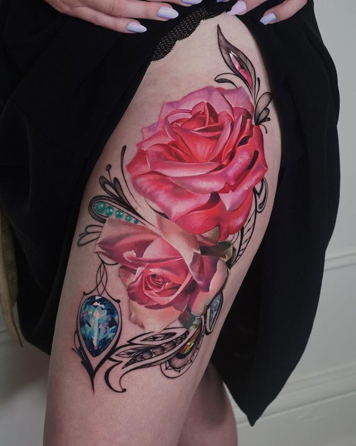 64 - 100 Tatouages Rose pour Femme