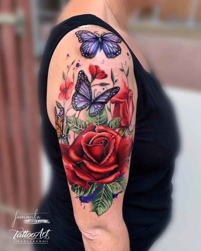 7 47 - 100 Tatouages Rose pour Femme