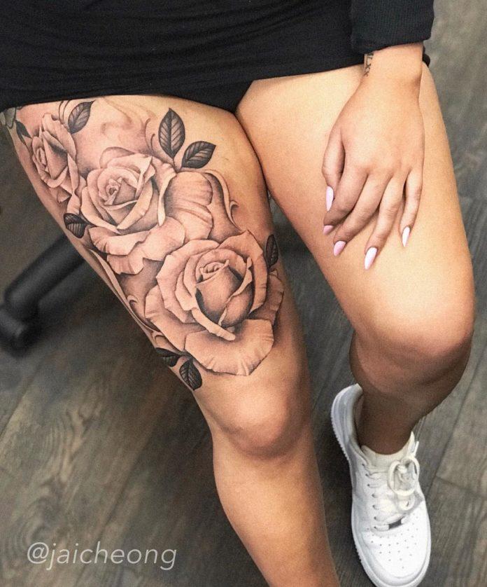 75 1 - 100 Tatouages Rose pour Femme