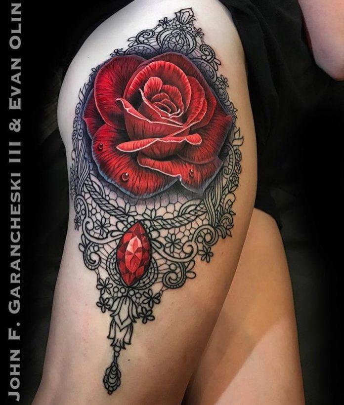 8 63 - 100 Tatouages Rose pour Femme