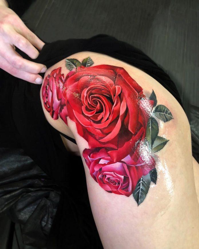 82 1 - 100 Tatouages Rose pour Femme