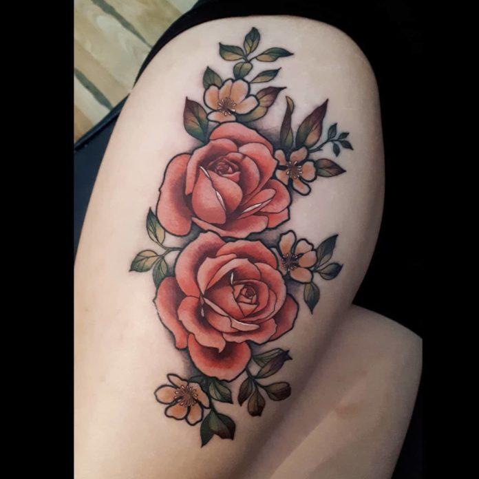 89 1 - 100 Tatouages Rose pour Femme